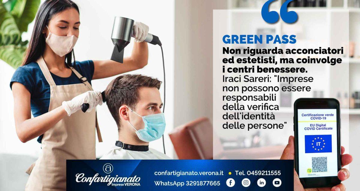 """GREEN PASS - Non riguarda acconciatori ed estetisti, ma i centri benessere. Iraci Sareri: """"Imprese non possono essere responsabili della verifica dell'identità delle persone"""""""