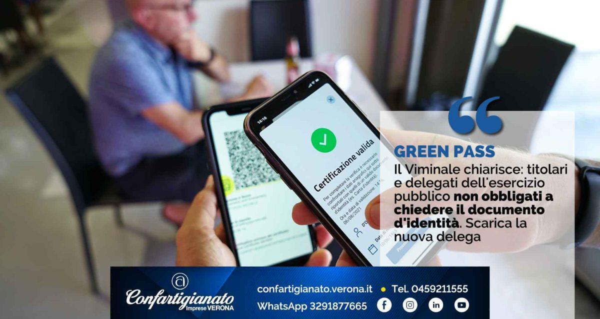 GREEN PASS – Il Viminale chiarisce: titolari e delegati dell'esercizio pubblico non obbligati a chiedere il documento d'identità. Scarica la nuova delega