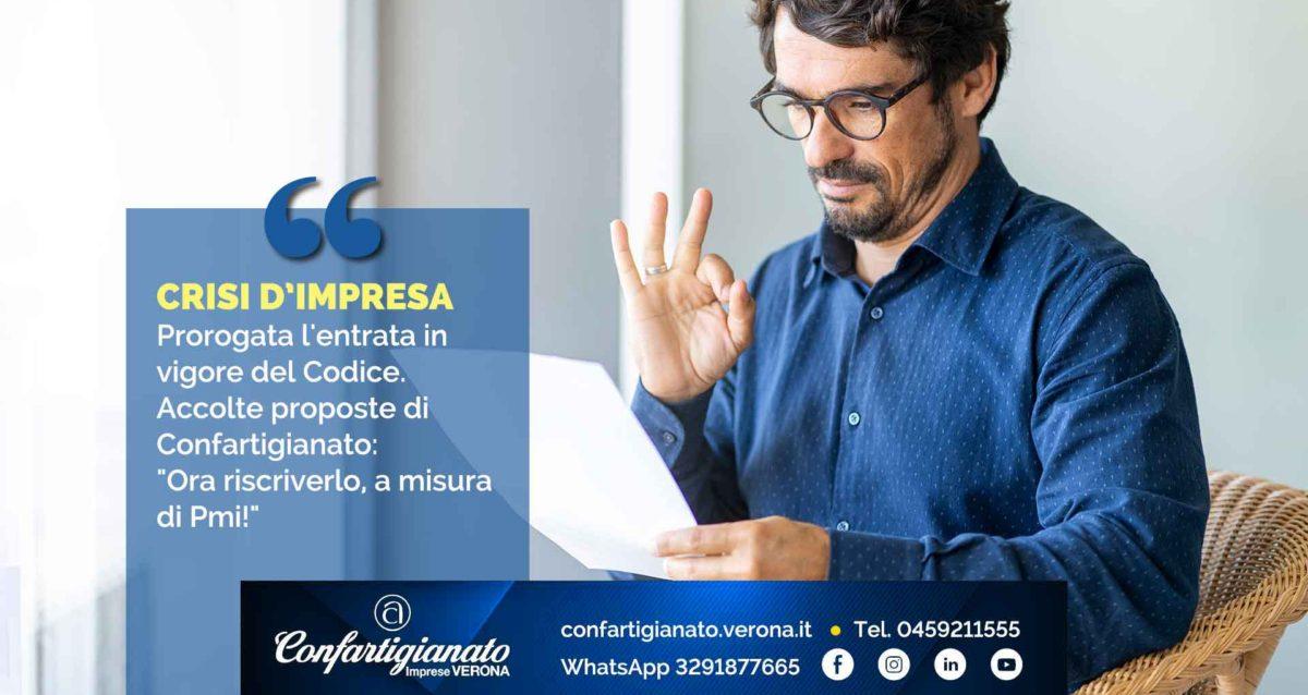 """CRISI D'IMPRESA – Prorogata l'entrata in vigore del Codice. Accolte proposte di Confartigianato: """"Ora riscriverlo, a misura di Pmi!"""""""
