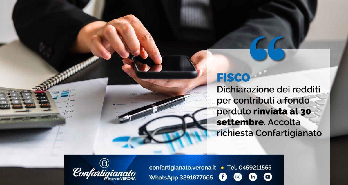FISCO – Dichiarazione dei redditi per contributi a fondo perduto rinviata al 30 settembre. Accolta richiesta di Confartigianato