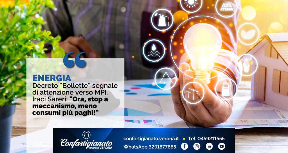 """ENERGIA – Decreto """"Bollette"""" segnale di attenzione verso MPI. Iraci Sareri: """"Ora, stop a meccanismo, meno consumi più paghi!"""""""