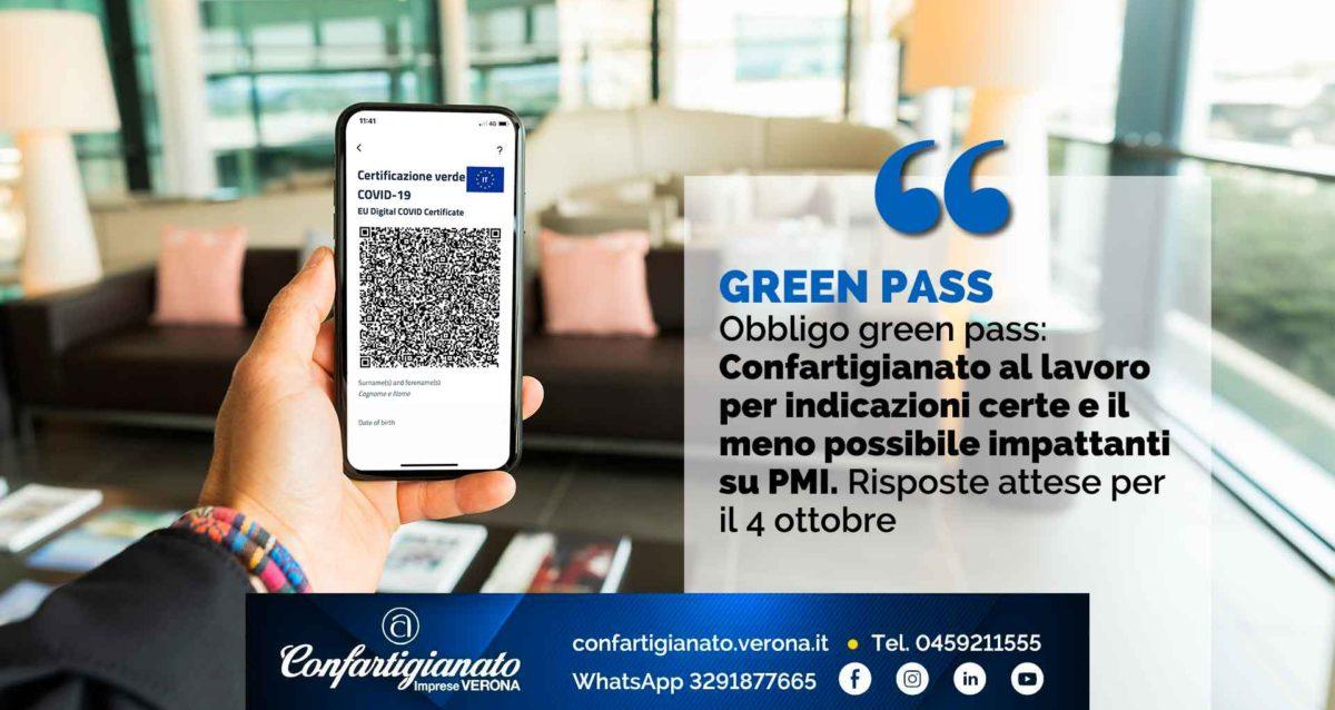 GREEN PASS – Obbligo green pass: Confartigianato al lavoro per indicazioni certe e il meno possibile impattanti su PMI. Risposte attese per il 4 ottobre