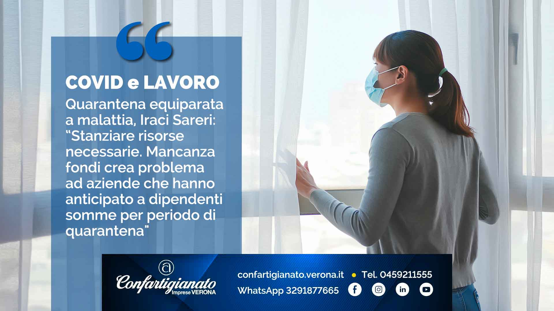 """COVID-19 e LAVORO – Quarantena equiparata a malattia, Iraci Sareri: """"Stanziare risorse necessarie. Mancanza fondi crea problema ad aziende che hanno anticipato a dipendenti somme per periodo di quarantena"""""""