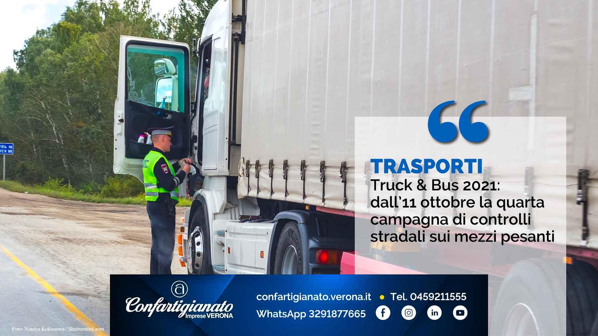 TRASPORTI – Truck & Bus 2021: dall'11 ottobre la quarta campagna di controlli stradali sui mezzi pesanti