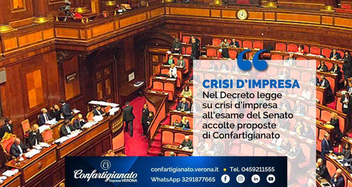 CRISI D'IMPRESA – Nel Decreto legge su crisi d'impresa all'esame del Senato accolte proposte di Confartigianato