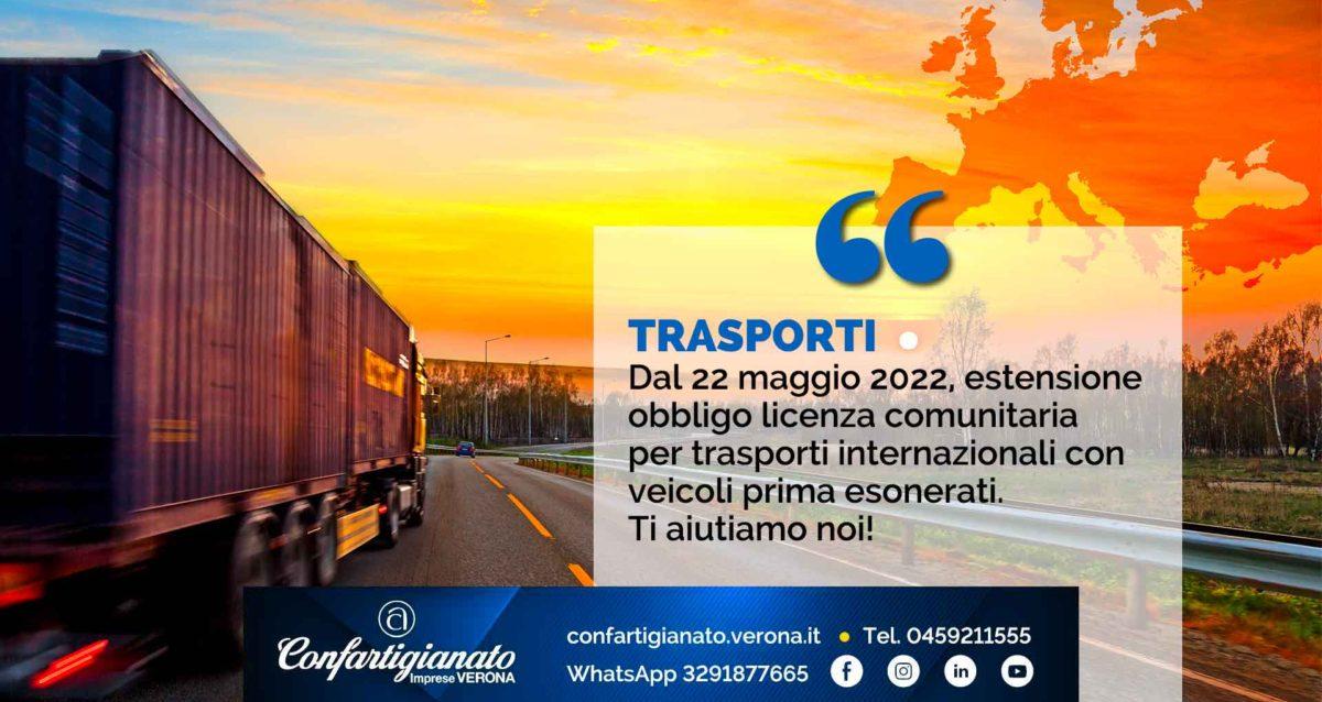 TRASPORTI – Dal 22 maggio 2022, estensione dell'obbligo della licenza comunitaria per trasporti internazionali con veicoli prima esonerati. Ti aiutiamo noi!